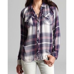Rails XS Kendra Shirt in Navy/Pink Plaid Flannel